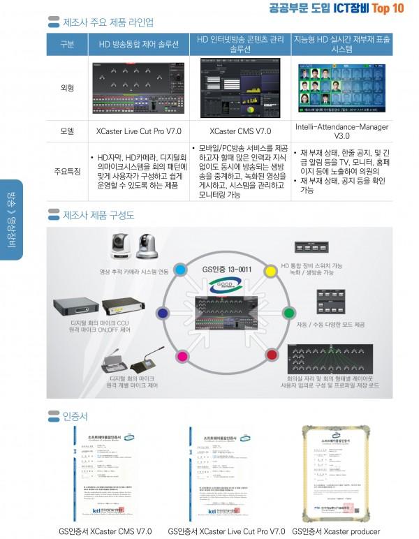공공기관 영상 장비 최근 3년 ICT 국산 솔루션 Top 10 선정 (주)티노 자체 개발 솔루션